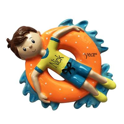 Boy Floating on Inner Tube on the Water- Personalized Ornament