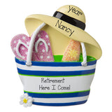 Beach bag with flip flops and hat-RETIREMENT-personalized ornament