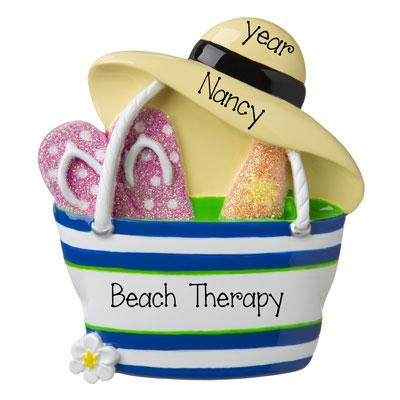 Beach Bag with Flip Flops and Hat-Personalized Ornament