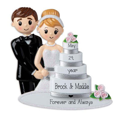 Just Married Couple and wedding Cake~Personalized Ornament