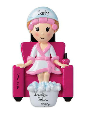 Female at the Spa sitting in a pink chair with feet in tub - Personalized Christmas Ornament