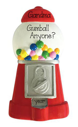 Red Gumball Machine ~ Personalized Christmas Ornament