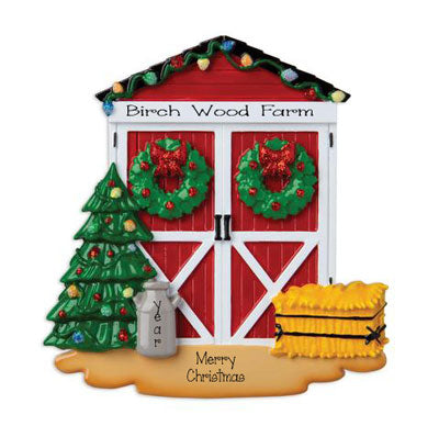 Red Barn Doors Decorated for Christmas ~ Personalized  Ornament