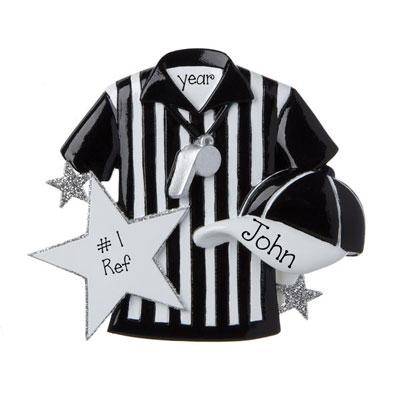 Referee with Black and white striped shirt, Hat and Whistle~Personalized Christmas Ornament