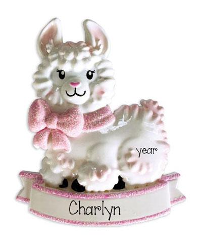 Baby Girl Llama with Pink Glitter Bow-Personalized Ornament