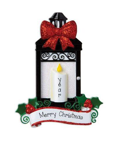 Black Lantern with a Red Glitter Bow and Candle ~ Personalized Ornament