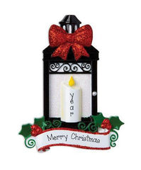 Black Lantern with a Red Glitter Bow and Candle ~ Personalized Christmas Ornament