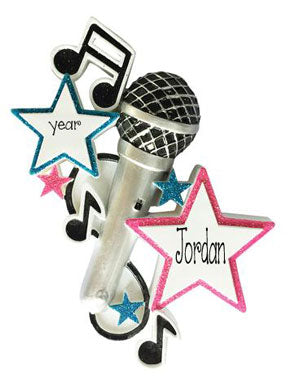 Microphone with stars trimmed in blue and pink glitter ~ Personalized Christmas Ornament