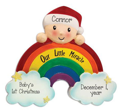 Our Rainbow Baby with a beautiful rainbow  our little miracle ~ Personalized Christmas Ornament