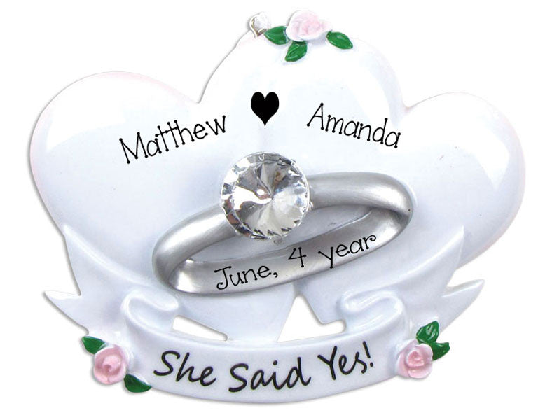 SHE SAID YES~Personalized Christmas Ornament
