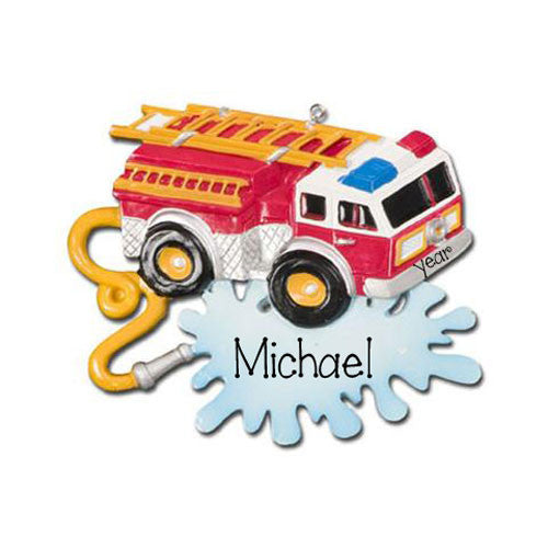FIRETRUCK w/ HOSE - Personalized Ornament