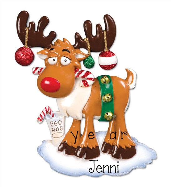 RED NOSE REINDEER - Personalized Ornament