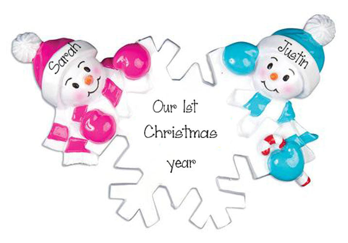 SNOWMAN COUPLE'S 1ST CHRISTMAS / MY PERSONALIZED ORNAMENTS