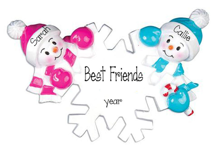 Two Snowman FRIENDS~Personalized Christmas Ornament