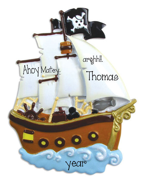 PIRATE SHIP - Personalized Ornament
