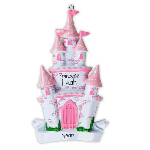 PINK PRINCESS CASTLE - Personalized Ornament