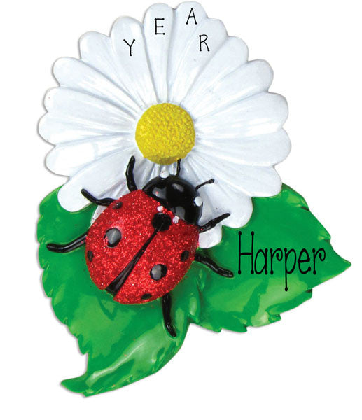 LADY BUG ON A FLOWER - Personalized Ornament