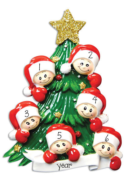 Family of 6 Christmas Tree~Personalized Christmas Ornament