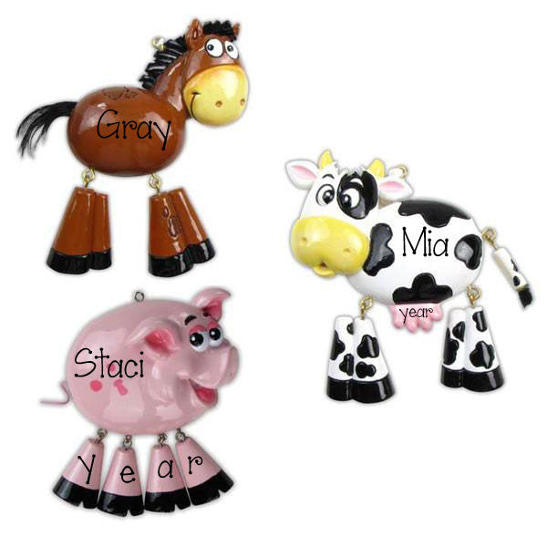 FARM ANIMALS - Horse, Pig or Cow Ornaments
