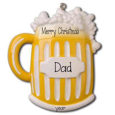 Mug of Beer for Dad - Personalized Christmas Ornament