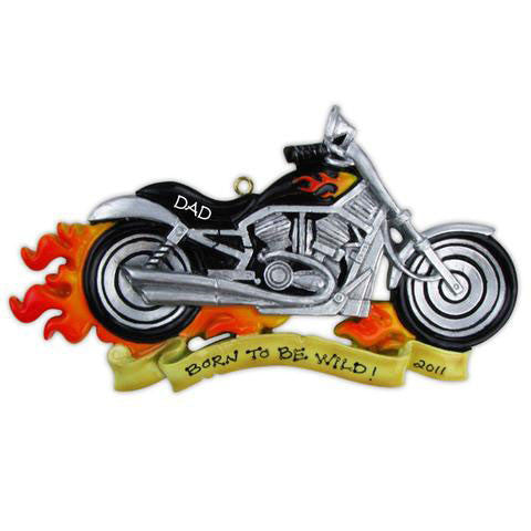 Motorcycle w/ Flames-Personalized Ornaments