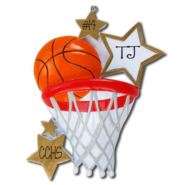 BASKETBALL w/ NET - Personalized Ornament