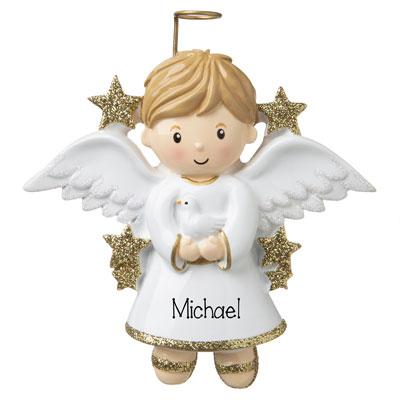 Boy Angel Glittered Wing - Personalized Ornament