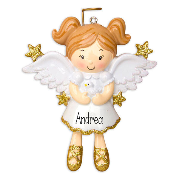 LITTLE GIRL ANGEL w/ WINGS - Personalized Ornaments