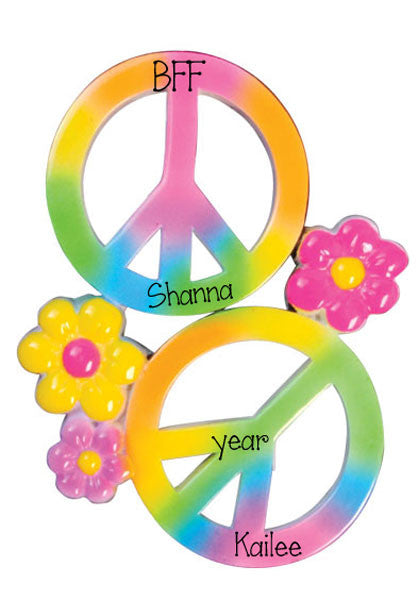 PEACE SIGN FOR 2 FRIENDS - Personalized Ornament
