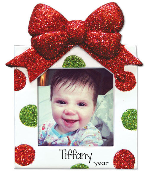 PHOTO FRAME WITH RED GLITTER BOW AND GREEN AND RED POLKA DOTS / MY PERSONALIZED ORNAMENTS