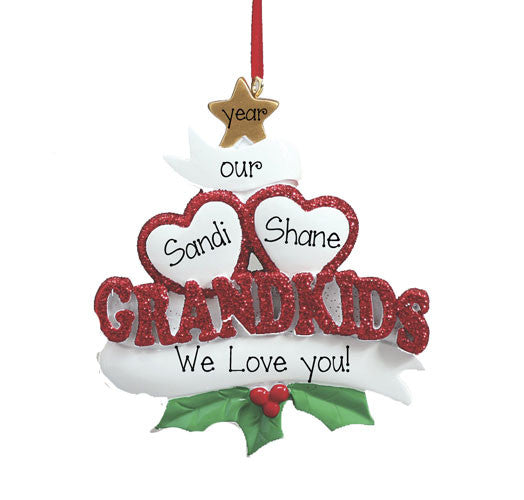 GRANDKIDS WITH 2 HEARTS, MY PERSONALIZED ORNAMENTS