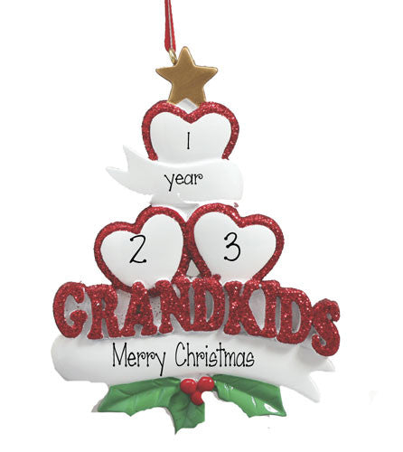 GRANDKIDS WITH 3 HEARTS - Personalized Ornament