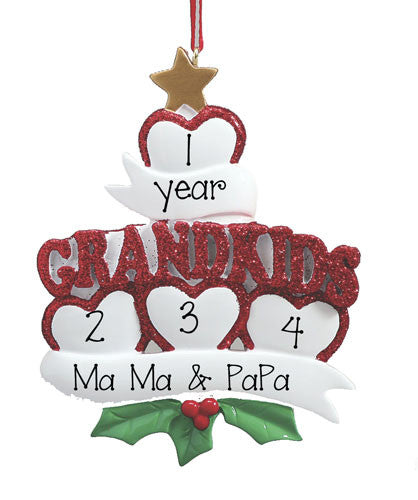 I Love Grandkids w/ 4 Hearts - Ornament