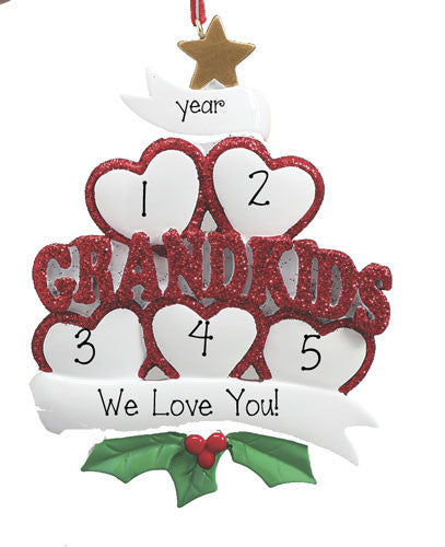 Grandkids with 5 Hearts~Personalized Christmas Ornament