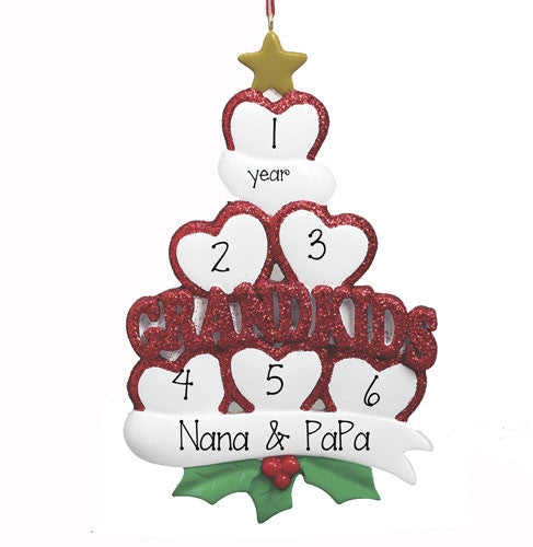 Grandkids with 6 Hearts~Personalized Christmas Ornament