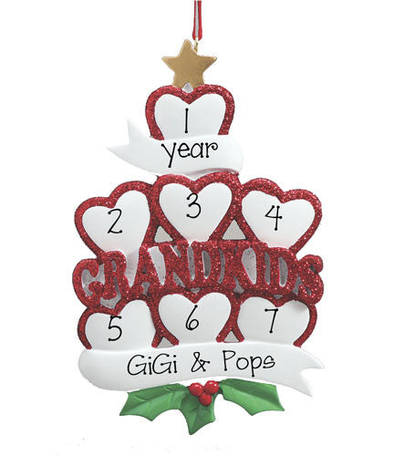 Grandkids w/ 7 Hearts - Personalized Ornaments