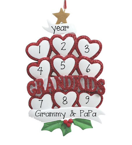 GRANDKIDS w/ 9 HEARTS - Personalized Ornament