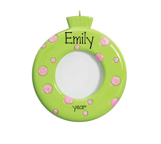 Green Photo Frame w/ Pink Polka Dots - Ornament