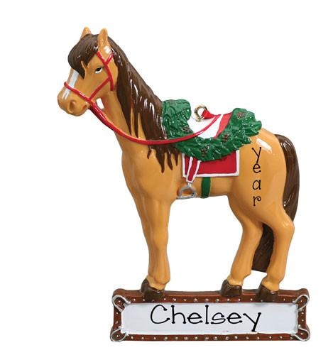 Brown horse w/ Red Saddle - Personalized Ornament