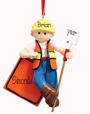 ROAD CONSTRUCTION MAN,  MY PERSONALIZED ORNAMENT