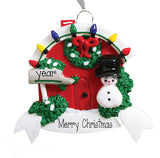FRONT RED DOOR WITH CHRISTMAS WREATH AND A SNOWMAN, my personalized ornaments
