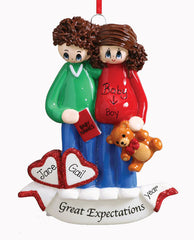 GREAT EXPECTATION COUPLE EXPECTING ORNAMENT / MY PERSONALIZED ORNAMENT