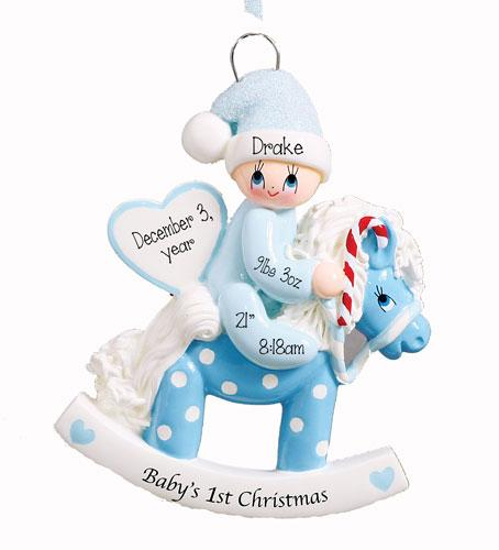 Baby Boy on a Rocking Horse 1st Christmas Ornament