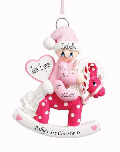 Baby Girl on a Rocking Horse 1st Christmas Ornament