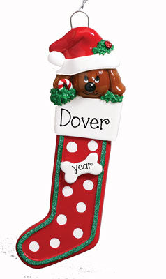 BROWN DOG IN CHRISTMAS STOCKING ORNAMENT, MY PERSONALIZED ORNAMENTS