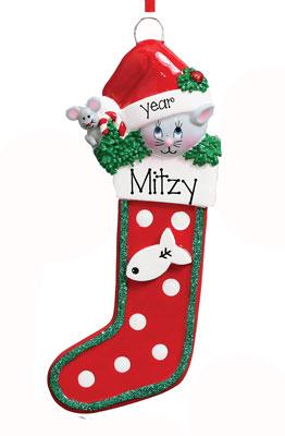 CAT in Christmas Stocking~Personalized Christmas Ornament