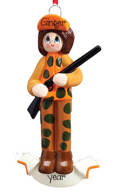 female Hunter dressed in Orange, Personalized Christmas Ornament