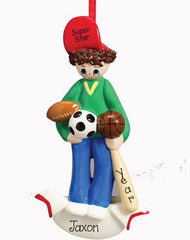 BOY ALL AROUNDS SPORTS, SOCCER, FOOTBALL, BASKETBALL, BASEBALL,MY PERSONALIZED ORNAMENTS