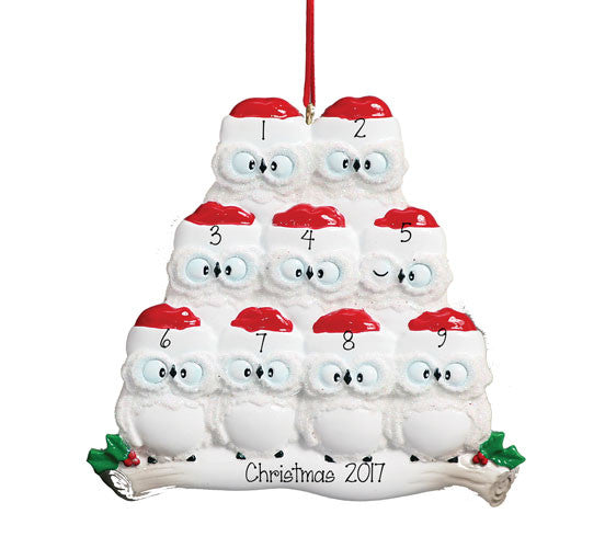 Family of 9 White Owl - Personalized Ornament