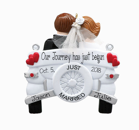 JUST MARRIED WEDDING CAR ORNAMENT WITH BRISE AND GROOM / MY PERSONALIZED ORNAMENTS